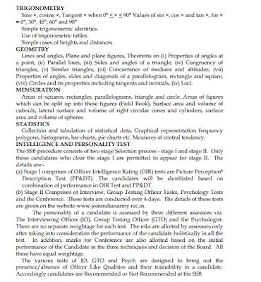 UPSC CDS I Exam Elementary Mathematics Syllabus