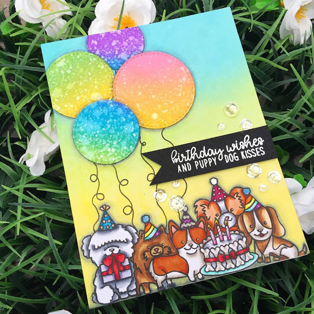 Sunny Studio Stamps: Party Pups Customer Card Share by Jenn Brown