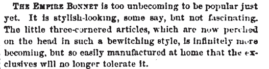 Bonnet descriptions in Peterson's Magazine, August 1865.
