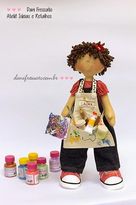 Boneca de tecido personalizada com Tintas