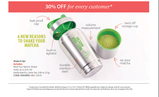 Meet Your Matcha Shaker holds 20oz, comes with Vanilla Matcha and Green Tea Matcha. CODE: AUGSPEC for discount