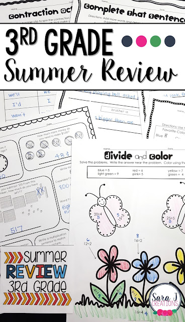 Third Grade Summer Review packet includes 80 pages of no prep work to help prevent summer slide.  Some of the topics covered include telling time, fractions, money, place value, vowel sounds, parts of speech, editing sentences and more!