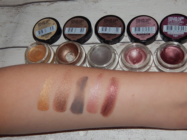 Maybelline colour tattoo swatches eternal gold on and on bronze permanent taupe pink gold metallic pomegranate