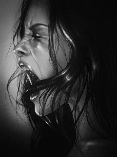 Retrato a lápiz de mujer gritando