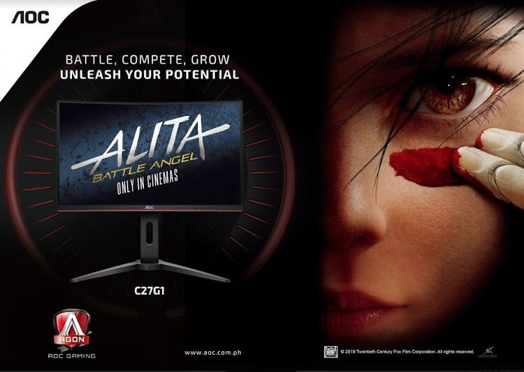 AOC is the Official Monitor Partner of Alita: Battle Angel