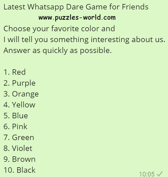 Whatsapp Dare Game For Friends Choose Your Favorite Color