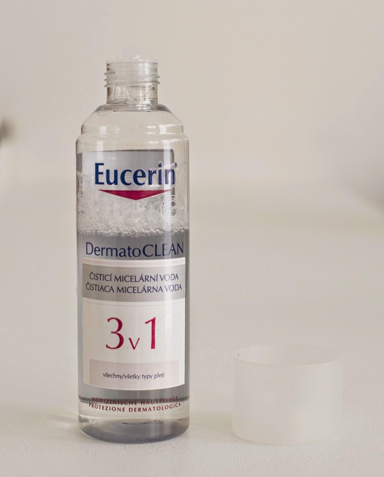 eucerin, dermatoclean, micelární voda, odličování, čistění pleti, face, obličej