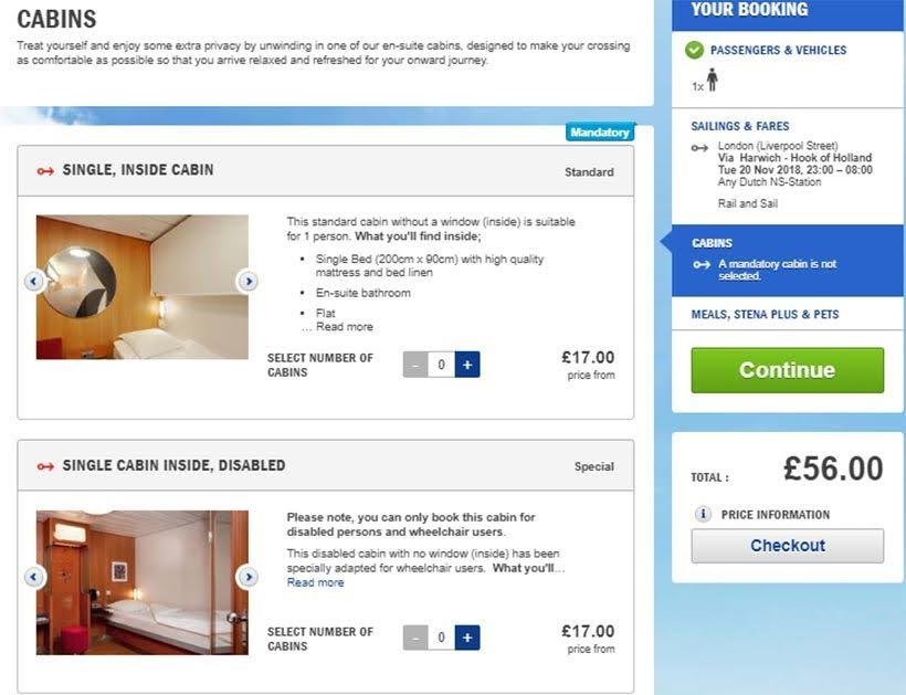 Escolha da cabine: como comprar os bilhetes Rail&Sail da Stena Line - De Londres a Amsterdam: como fazer o trajeto de navio