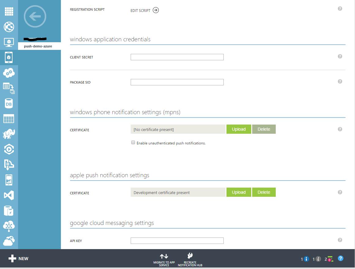 Azure Push Notifications for Hybrid Mobile App (Ionic/Cordova