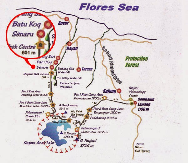 Senaru trek map route - Rinjani Trekking