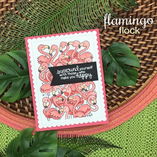 Crowd of Flamingos card by Jennifer Jackson | Flamingo Flock Stamp Sets by Newton's Nook Designs #newtonsnook #handmade