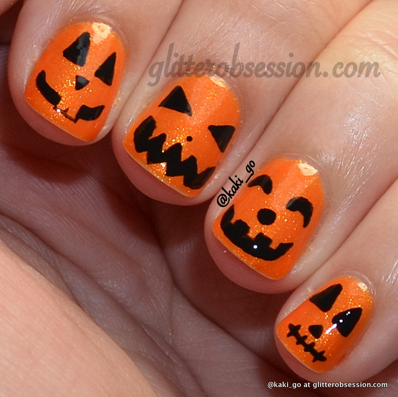 Halloween Nail Art: Glitter Obsession: Halloween Nail Art Challenge: Pumpkin