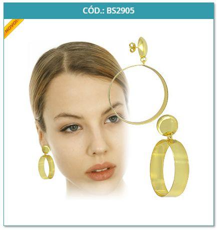 Lançamento Bijuterias em Promoção: Brinco Folheado a Ouro com Adereço circular
