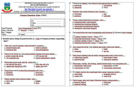 Soal UKK/UAS IPS Kelas 4 Smstr 2