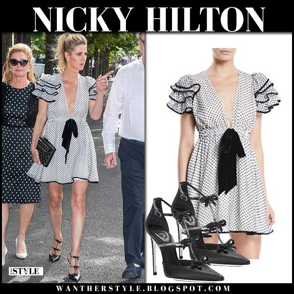 Nicky Hilton in black and white polka dot tie detail mini dress valentino paris style july 2