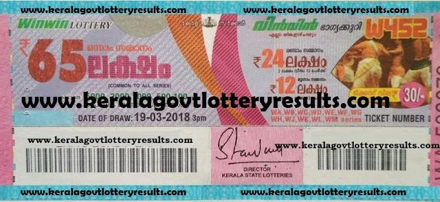 kerala lottery results, kerala lottery winnders, win win lottery 19th march 2018 results