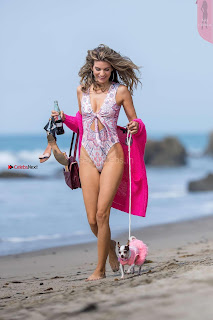 Rachel McCord In Swimsuit seen on the beach with her dog 029 ~ Celebs.in Exclusive