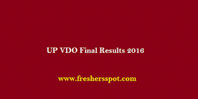 UP VDO Final Results 2016
