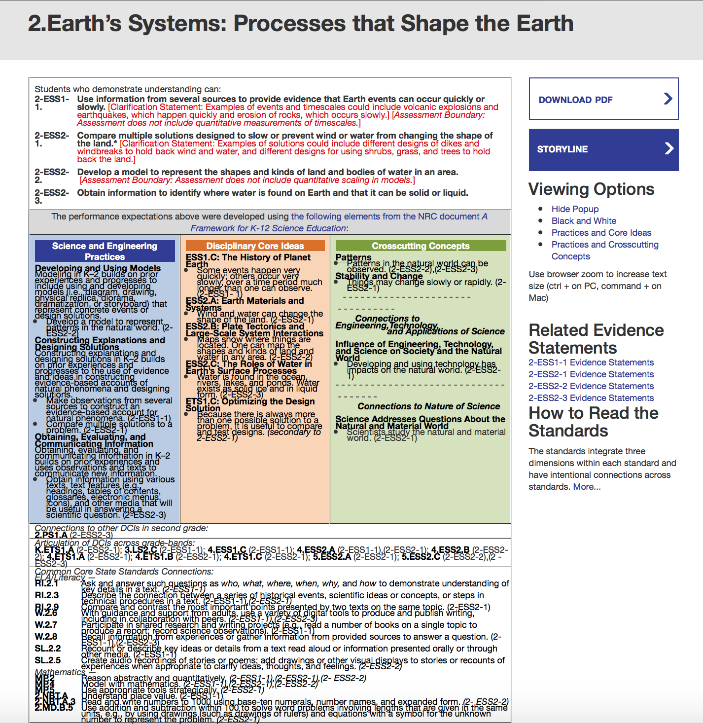 Clicking the colored areas of the NGSS Foundation box takes you to the  supporting pages of the Framework for K-12 Science Education, a key step in  really ...