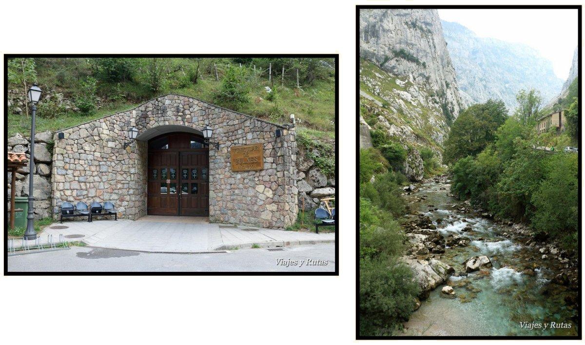 Entrada al funicular de Bulnes y río Tejo