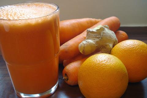 sucul de portocale cu morcovi si ghimbir este o bautura excelenta pentru sanatatea ochilor si a pielii
