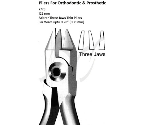 Aderer Three Jaws Thin Pliers For Orthodontic & Prosthetic Dental Instruments
