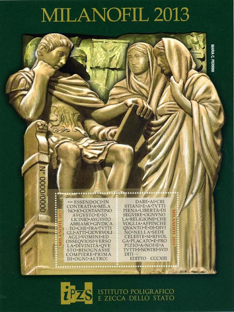 Emperor Constantine with the Edict of Milan, illustrated from a bronze door of the Duomo di Milano cathedral