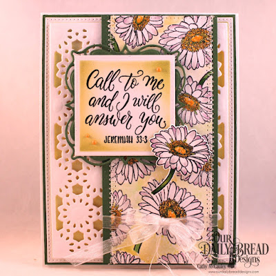 Our Daily Bread Designs Stamp/Die Duos: Call to Me, Custom Dies: Daisy Chain Background, Pierced Rectangles, Layered Lacey Squares, Squares