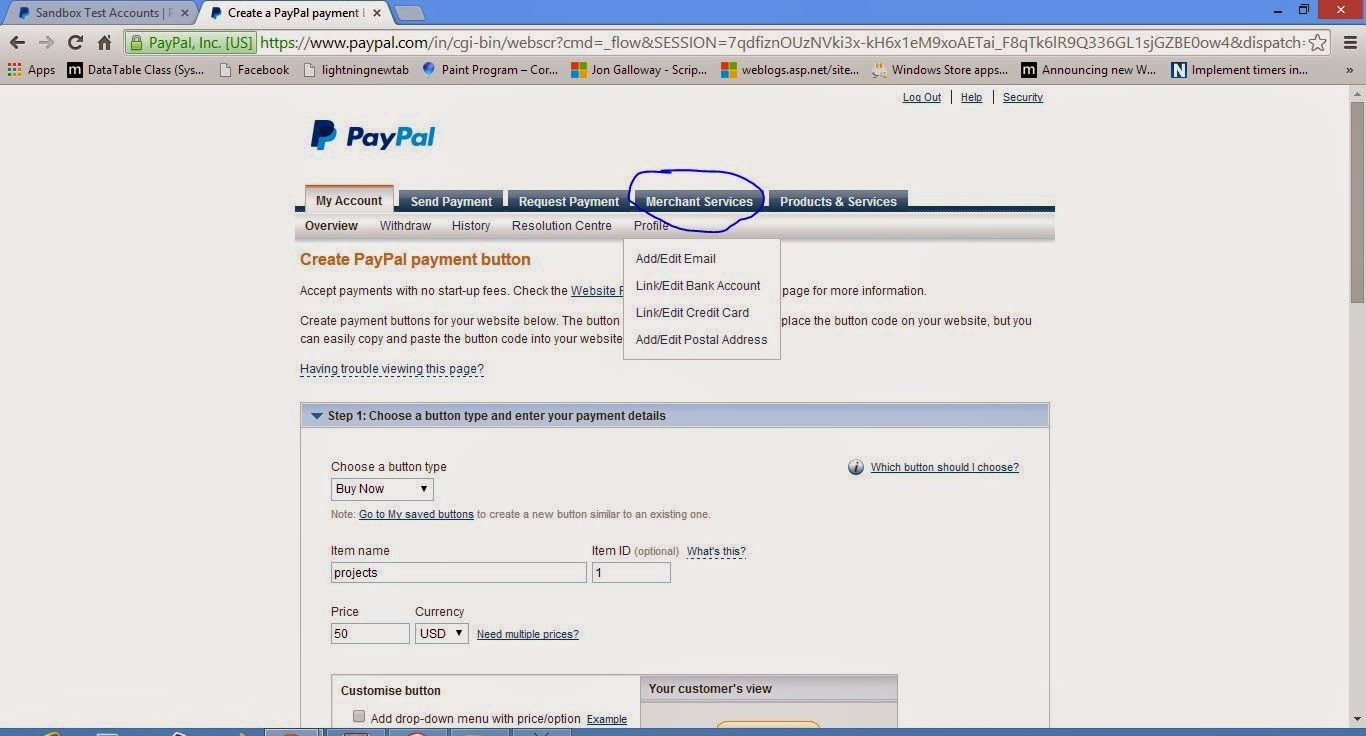 create a new buy button for your website in paypal