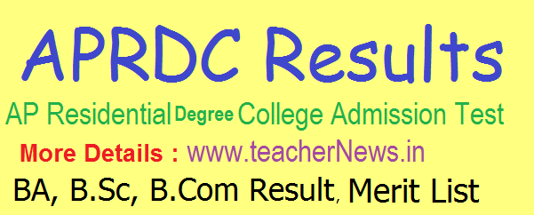 APRDC Results 2019 | APRDC CET Degree Results, Merit List, Cutoff Marks @ aprs.cgg.gov.in