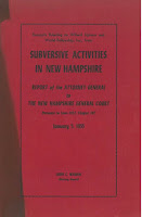 "The red and black cover of a publication titled ""Excerpts relating to Willard Uphaus and World Fellowship Inc., from Subversive Activities in New Hampshire. Report of the Attorney General to the New Hampshire General Court. January 5, 1955."