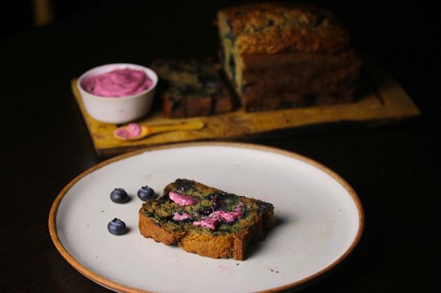 Spelt Blueberry Banana Bread with Blueberry Honey Butter