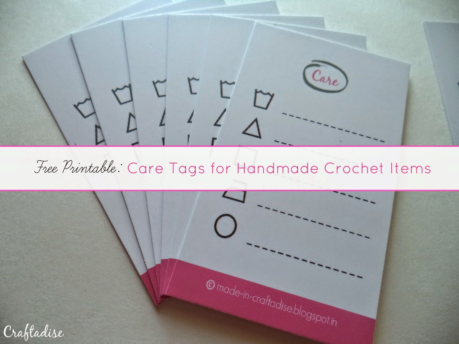 Care Tags for Handmade Crochet Items : Free Printable