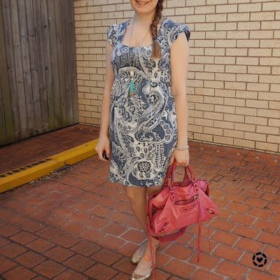 awayfromtheblue Instagram paisley print sheath dress pink Balenciaga sorbet city bag summer office outfit