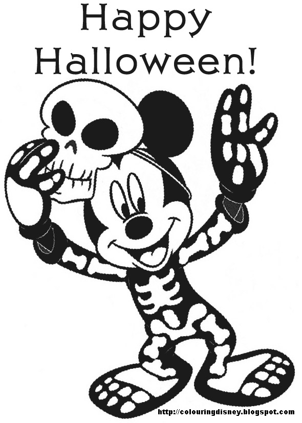 Halloween colorings for Mickey halloween coloring pages