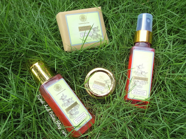 Forest Essentials Iced Pomegranate & Kerala Lime Body Mist, Shower Gel, Sugar Soap, Body Cream Review