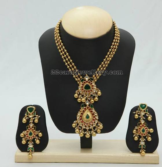 Gold Balls Set with Locket and Earrings