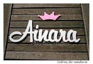 letras de madera infantiles para pared Ainara con silueta de corona babydelicatessen