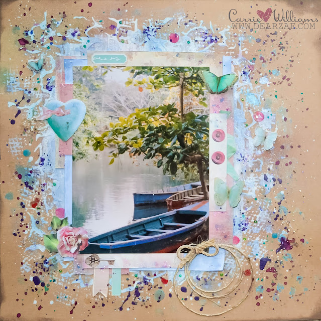 Mixed media layout on kraft background with vintage die cuts and paint splatters