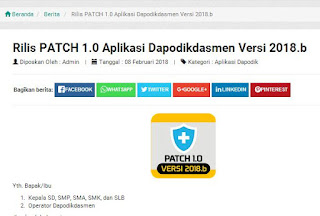 Rilis PATCH 1.0 Aplikasi Dapodik Versi 2018b