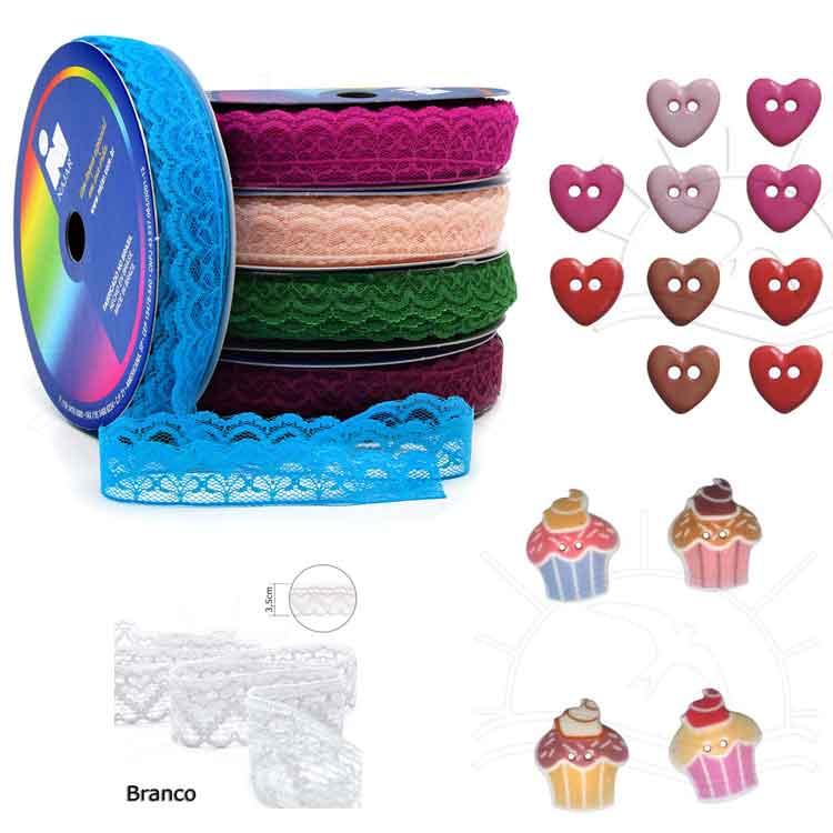 Rendas e botões lindos para compor a sua embalagem de doces