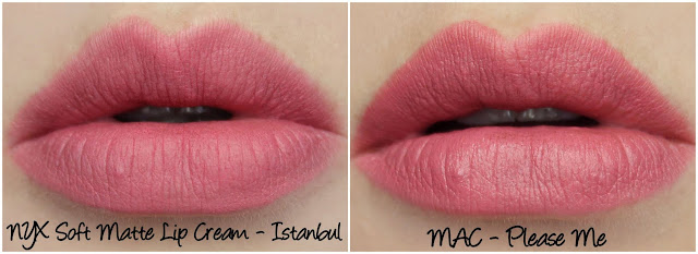 NYX Soft Matte Lip Cream Istanbul MAC Please Me lipstick comparison