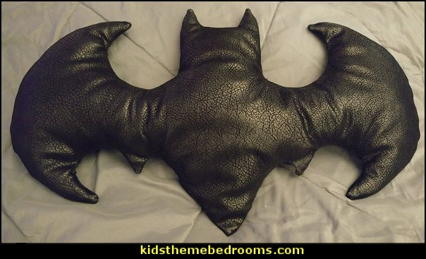 Faux Leather Batman Shaped Pillow   batman bedrooms - batman bedroom decorating ideas -  batman furniture - batman murals - batman wall decals - batman bedding - batmobile bed - Batman room decor - batman pajamas -  batcave DC Comics Batman -  batman comics themed bedrooms -  Batman vs Superman Bedrooms - Superhero bedroom ideas -