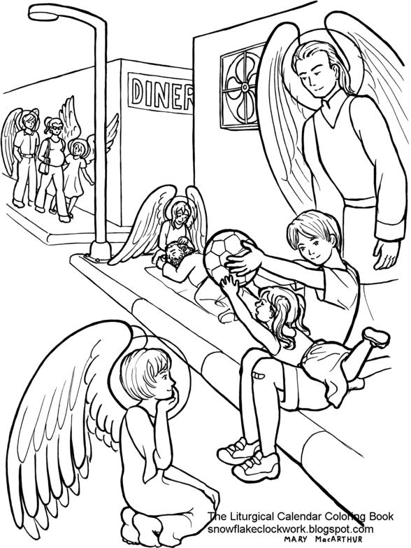 snowflake clockwork guardian angels coloring page