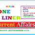 Download pdf  One Liner Current Affairs Month August –September 2016