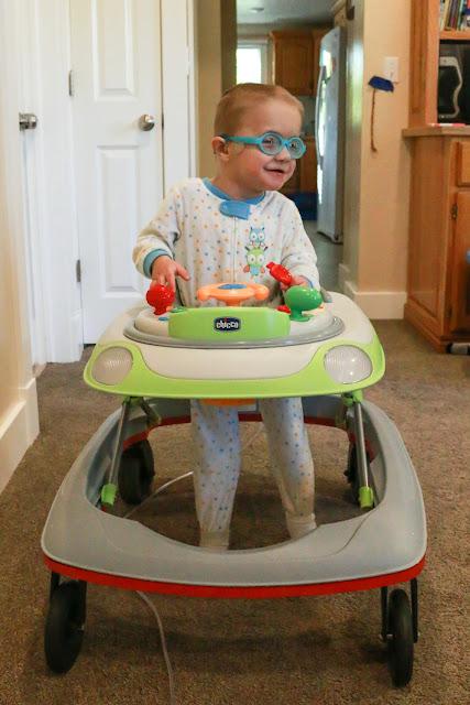 Aaron in his walker