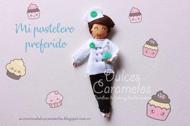 muñeco fieltro profesion pastelero