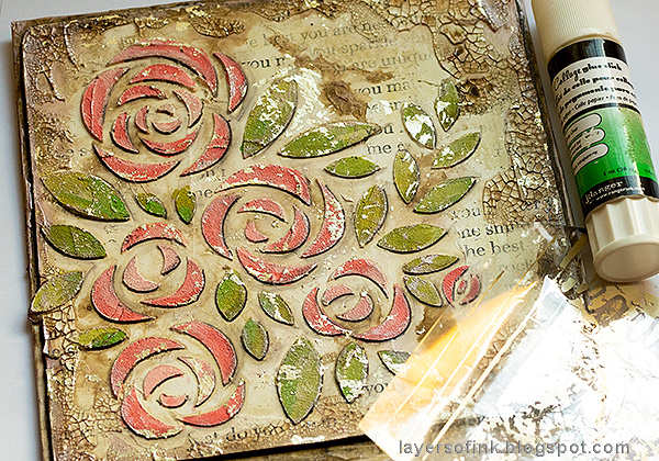 Layers of ink - Roses Mixed Media Panel Tutorial by Anna-Karin Evaldsson. Adding foil.