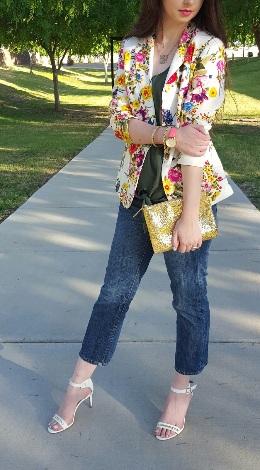 floral blazer with cropped jeans and heeled sandals for a Spring outfit