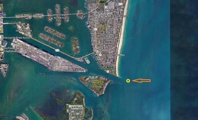 El punto amarillo marca el lugar donde impactó la lancha en la que viajaba el pelotero José Fernández junto a sus amigos Eduardo Rivero y Emilio Macías